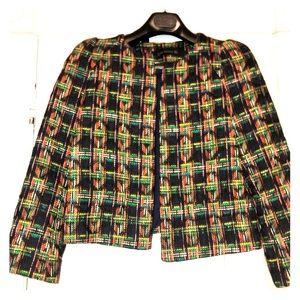 Zara Multicolored Cropped Tweed  Blazer